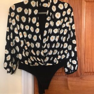 Sunflower/black open chest leotard. 3/4 sleeves